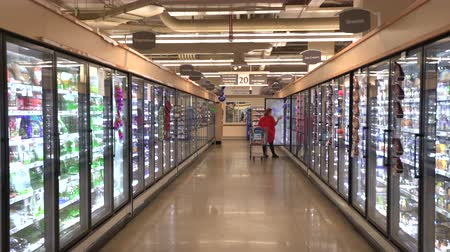 hűtőgép : Woman shopping in grocery store, supermarket. Frozen food row - United States