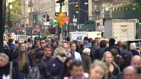 Бродвей : Crowd of people walking on a sidewalk. Crowded street scene - New York, Manhattan