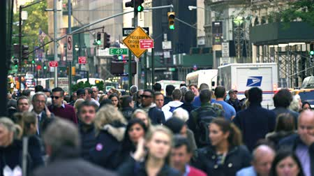 congested : Crowd of people walking on a sidewalk. Crowded street scene - New York, Manhattan