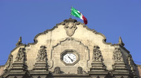 hacı : Basilica of Guadalupe clock tower with Mexican flag - Mexico City Stok Video