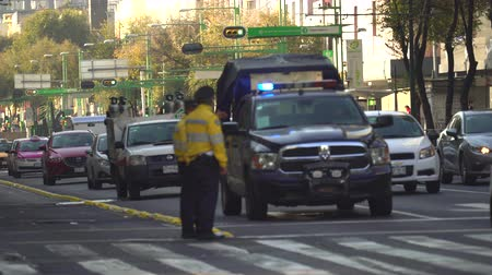 nešťastný : Mexico City street scene with two traffic cops. Overpopulated city