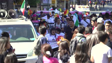mexico city : Crowd of people demonstrating on Mexico City Street