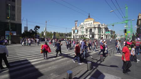 largest city : Mexico City downtown. Crowd of people walking on the street