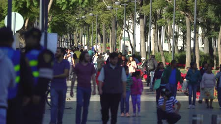 еж : Crowd of people walking on Mexico City street, Alameda Park