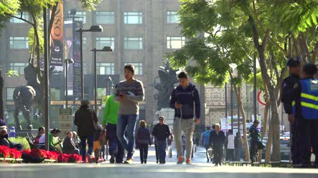 еж : People walking in the Alameda park - Mexico City downtown Стоковые видеозаписи