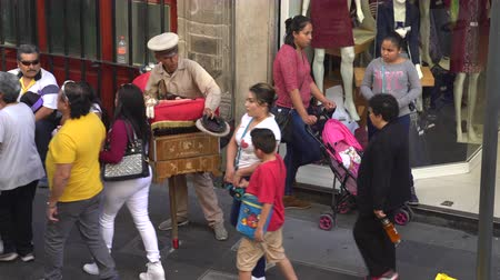 traditional instruments : Traditional Mexican street musician, organ grinder - Mexico City downtown