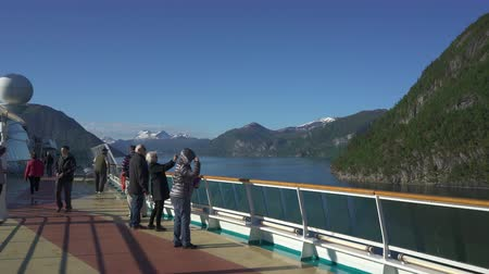 бортовой : Cruise ship cruising in fjord, Norway - onboard view