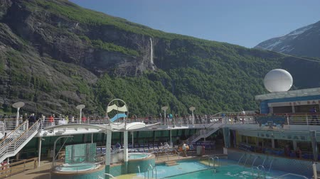 serenade : Cruise ship cruising in fjord - onboard view
