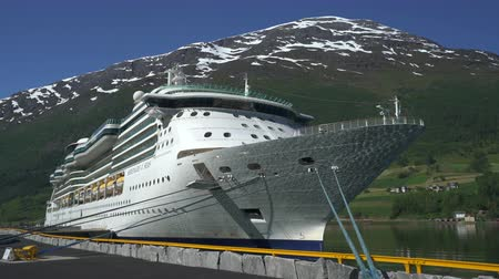 geiranger : Cruise ship docked in port of Geiranger fjord - Norway