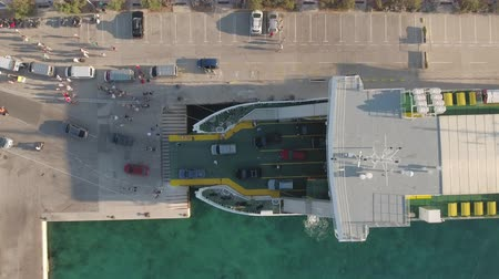 docking : Aerial view of the ferry boat on the port - Jadrolinia, Supetar, Brac, Croatia