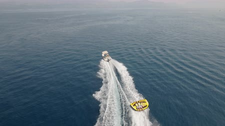jet ski : Aerial view of inflatable towable tubes, watersport