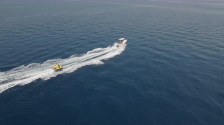 doughnut : Aerial view of inflatable towable tubes, watersport