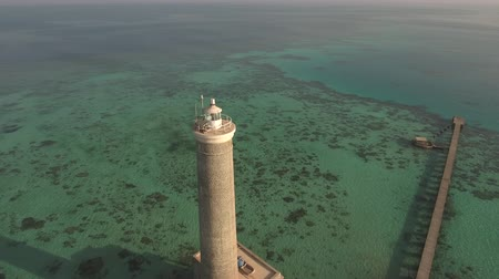 motorbot : Aerial view of lighthouse on the coral reef - Sanganeb, Red Sea, Sudan