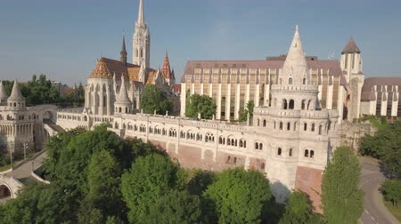 budapeszt : Aerial view of Budapest - Fishermans bastion and Matthias church, Hungary