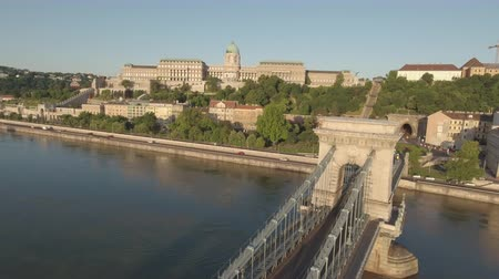 lion : Aerial view of Budapest in sunrise - Chain bridge and Buda castle, Hungary Stock Footage
