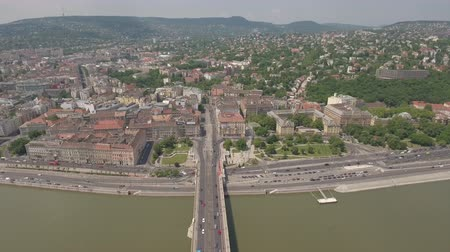маргарита : Aerial view of Budapest, Buda side - Margaret bridge, Hungary Стоковые видеозаписи