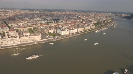 minister : Aerial shot of Budapest - Hungarian Parliament and Danube river
