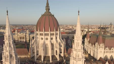 minister : Aerial view of Hungarian Parliament - Budapest, Hungary Stock Footage