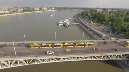 tracking : Aerial shot of bridge traffic - Petofi bridge, Budapest, Hungary