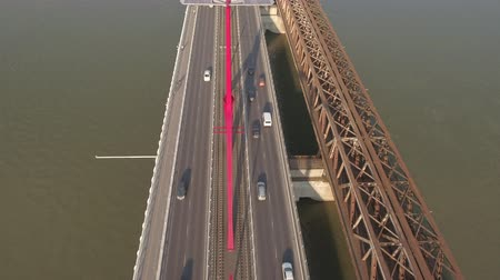 budapeste : Aerial shot of bridge traffic - Rakoczi bridge, Budapest, Hungary
