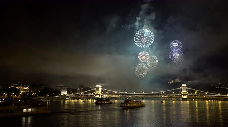 alkony : Beautiful fireworks over the city - Budapest, Chain bridge, Hungary