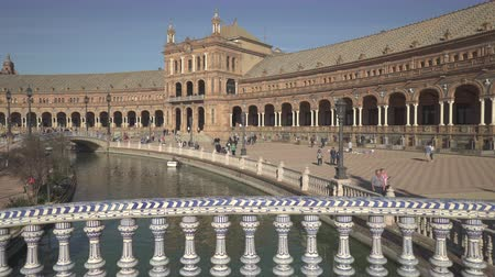 slider shot : Plaza de Espana building in Maria Luisa park, Seville - October 2018: Seville, Spain