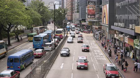 congested : Timelapse shot of traffic in Chatham road, Hong Kong - October 2018: Kowloon, Hong Kong, China