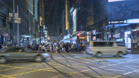 congested : Timelapse shot of traffic in Hong Kong downtown at night - October 2018: Hong Kong, China