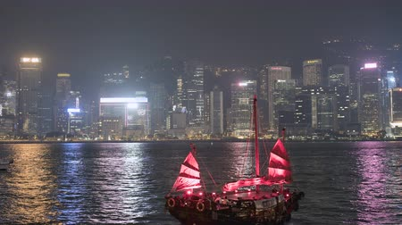 Timelapse of Hong Kong skylines and Victoria Harbor at night - October 2018: Hong Kong, China Dostupné videozáznamy