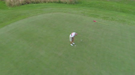 Aerial view of male golf player putting on golf course. Putting on the green.