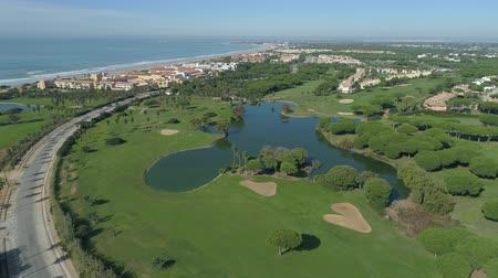 Aerial view of golf course. Mediterranean golf course in Spain