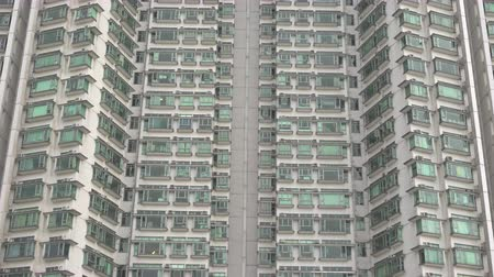 congested : Residential apartments in Hong Kong. Crowded apartment house, apartment complex Stock Footage