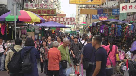 congested : Crowded market, street view in Hong Kong. Busy Fa Yuen street market - October 2018: Hong Kong, China