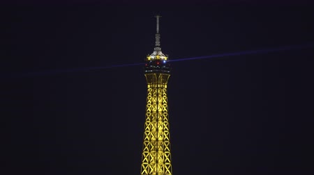 eiffel : Illuminated Eiffel Tower at night. Paris cityscape at night - September 2018: Paris, France