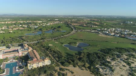 çimenli yol : Aerial view of golf course. Mediterranean golf course in Spain