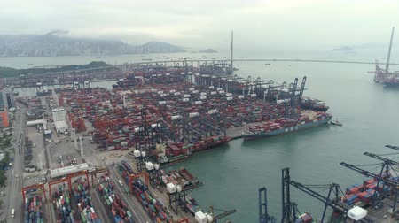 container terminal : Aerial shot of Hong Kong port, cargo ship terminal, container dock - October 2018: Hong Kong, China Stock Footage