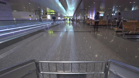 troli : Doha airport terminal, tracking shot - October 2018: Doha, Hamad International airport, Qatar