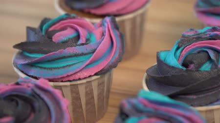 dolcezza : Chocolate muffins with multi-colored cream. cupcakes dolly