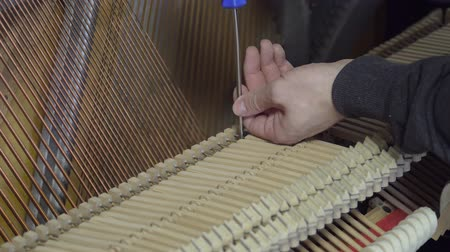Accordage du piano avec un tournevis. Gros plan d'un accordage de piano