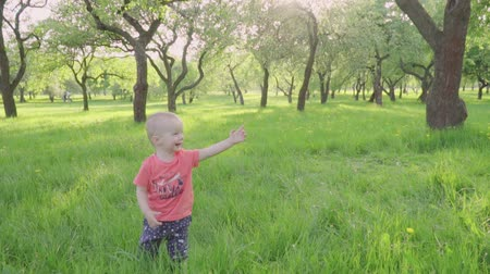 頭角を現す : little boy looks at soap bubbles in park by parents hand. slow-mo