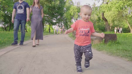 learning to walk : Beautiful family enjoying summer day in the park: little baby learning how to walk with mom and dad helping him to make his first steps Stock Footage