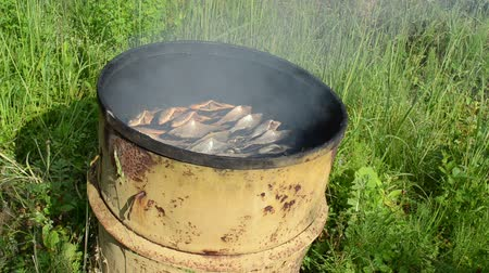 dorsal : ecologic natural organic fish food meal smoked in rusty vintage barrel rural smokehouse. Stock Footage