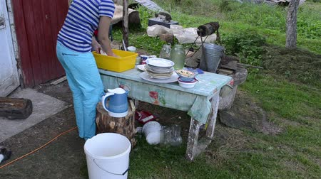 yoksulluk : Deprived woman wash dirty dishes on village outdoor table and cats walking arround. Rural poverty. Stok Video