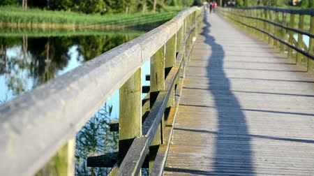 lonely : wooden lake bridge railing closeup and blur focus couple walk in distance. Stock Footage