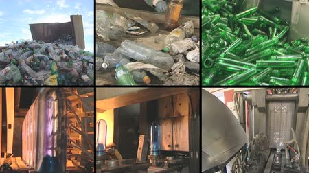 atık : collage montage of video clips showing pet bottle recycling and production equipment in industrial factory. PAL video clips collection joined to HD. Stok Video