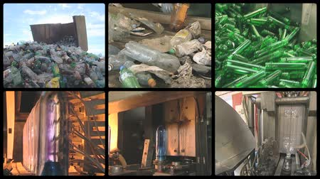 recyklace : collage montage of video clips showing pet bottle recycling and production equipment in industrial factory. PAL video clips collection joined to HD. Dostupné videozáznamy