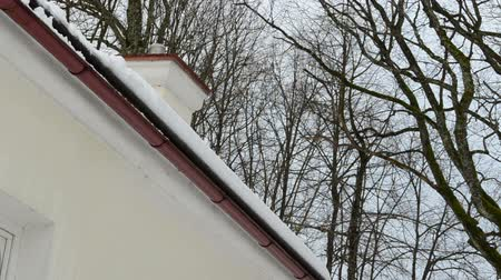 przeprowadzka : closeup of slope roof corner and snow clean fall down.