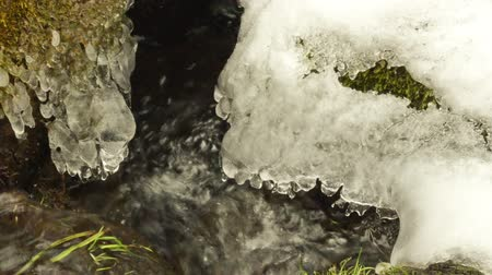 olvad : closeup of creek stream flow between mossy ground and stones covered with melting snow in spring.