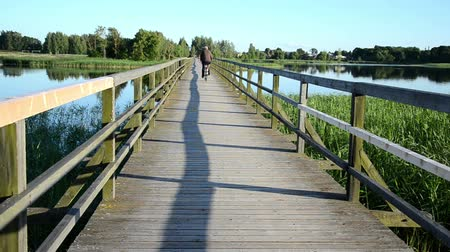 longo : grey head man drive bicicle on wooden long bridge through lake.