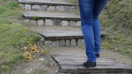wooden path : closeup retro wooden stone stair in nature park and woman leg climb upstair. Stock Footage